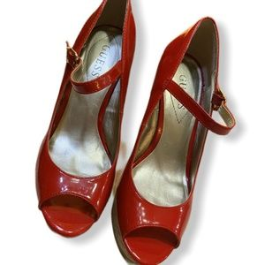 Guess Platform Wedge Red Patent Leather Sz 9.5